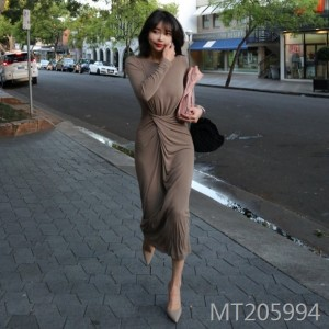 Korean sexy high waist pleated long sleeve dress women's clothing