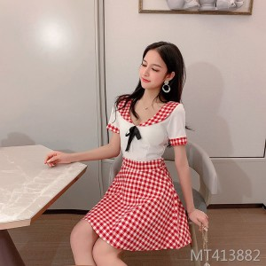 Plaid college wind uniform dress