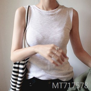 Temperament milky white round neck comfort vest