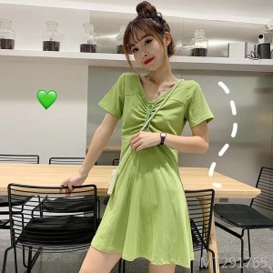 Avocado Green T-Shirt Drawstring Dress