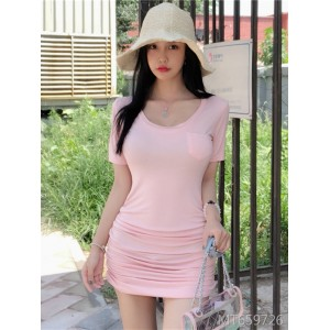 Korean sweet light pink low U-neck sexy slim dress