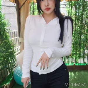 Korean Slim sexy V-neck bottoming shirt T-shirt female
