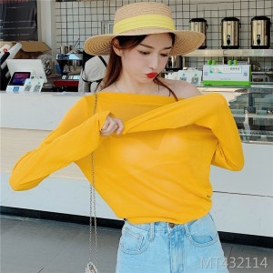 Sexy off-the-shoulder collar micro-transparent thin long-sleeved T-shirt sweater