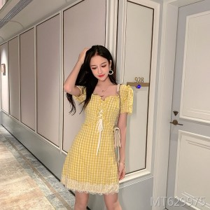 Small fresh yellow plaid cutout short-sleeved dress