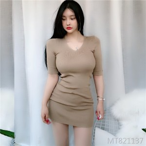 New style V sexy V-neck sweater dress