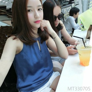 Chiffon satin blue camisole female silk bottoming shirt
