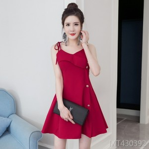 Summer new sexy V-neck button dress