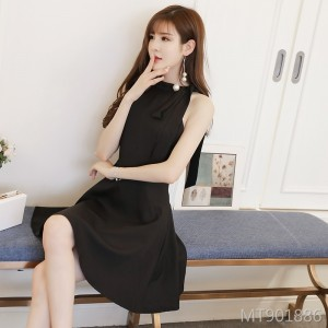 Black Halter Dress Autumn Winter Black Skirt Strapless Bow