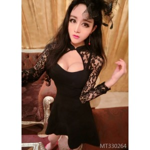 Lace stitching openwork sexy waist dress