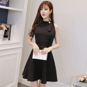 Korean version of the small black skirt Slim sleeveless A-small dress skirt