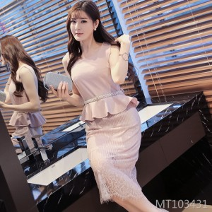 Spring and summer new long sleeves lace fake two-piece suit