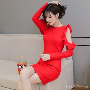Sexy off-the-shoulder round neck ruffled slim bag hip long sleeve dress