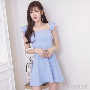 Slim and slim ruffled camisole dress summer dress