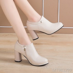 Round head high heels fashion wild thick with handmade zipper shoes women
