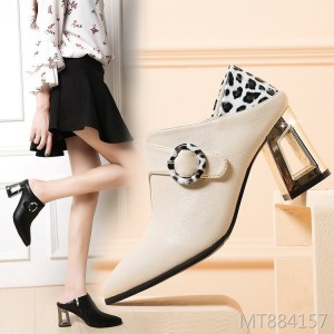 Vintage thick and shallow mouth women's shoes color matching handmade shoes