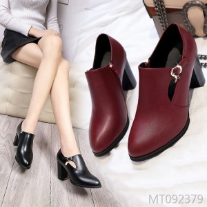 Round head shallow mouth high heel single shoes thick with handmade mother shoes women