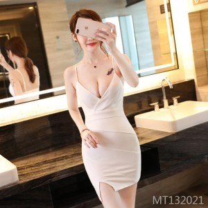 Nightclub split chest bag hip strap dress