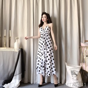 2019 summer new black and white dot sexy dress