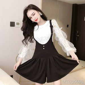 V-neck lace shirt + high waist bib skirt two-piece suit temperament dress