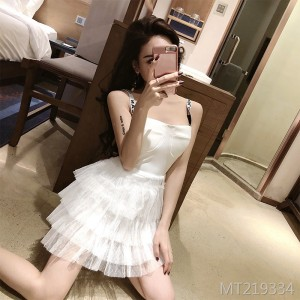 2019 summer new sling letter mesh sexy dress