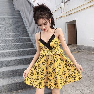 Low-cut backless printed sling dress tutu