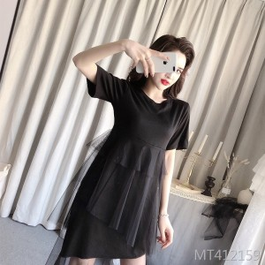 2019 summer new solid color sexy mesh dress
