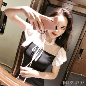 Summer new star mesh gauze bag hip sexy dress