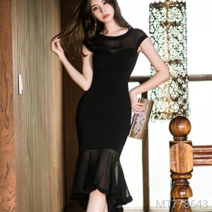 Stitching perspective slim dress female bag hip fishtail skirt in the skirt