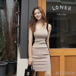 Deep V-neck vest knit dress bag hip skirt