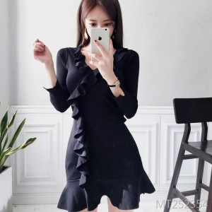 Slim knit dress female bottoming skirt ruffled skirt