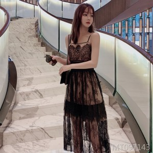 Tube top, waist, A-line, swing skirt, lace dress