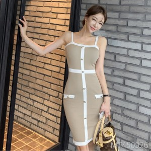 Sexy stitching contrast color knit dress female suspender bag hip skirt