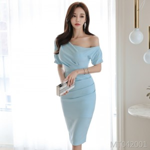 Sexy asymmetric dress female bag hip skirt