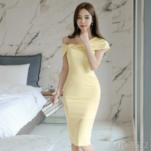 Sexy strapless neck collar slim dress female bag hip skirt