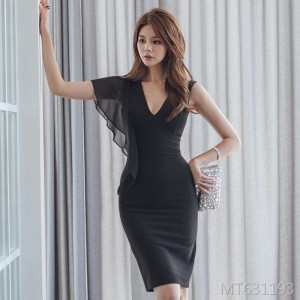 Deep V-neck chiffon stitching slim dress female bag hip skirt
