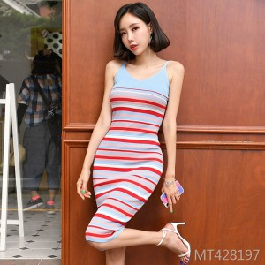 Striped deep V-neck backless stitching contrast color knit dress female