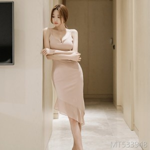 Deep V-neck irregular hem chiffon stitching hip skirt female strap dress