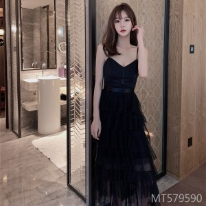 Low-cut V-neck splicing mesh sling dress