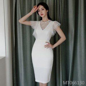 Sexy perspective lace stitching round neck slim bag hip skirt dress