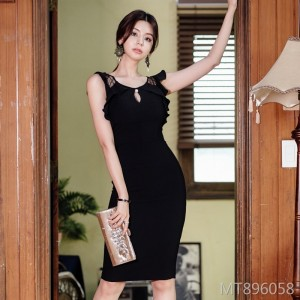 Mesh stitching slim round neck dress female bag hip skirt