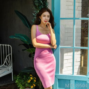 Sexy backless knit vest skirt female bag hip skirt