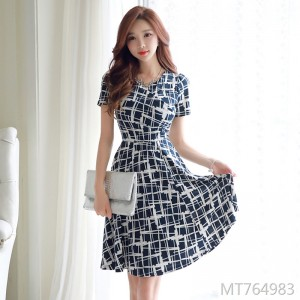 Printed slim slim stretch dress female ruffled skirt