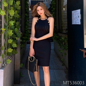 Sleeveless sexy slim knit dress handbag hip skirt