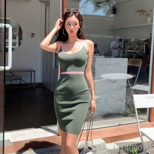Slim and positive wear knit suspender dress bag hip skirt