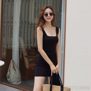 Sexy knit vest dress handbag hip skirt