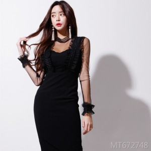 Gauze Slim Fit Sexy Base Dress