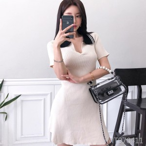Contrast POLO collar sexy slim knit dress short skirt