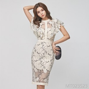 Stitched lotus leaf sleeve slim hip dress