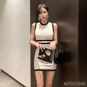 Sexy Slim Knit Dress Women's Bag Hip Short Skirt