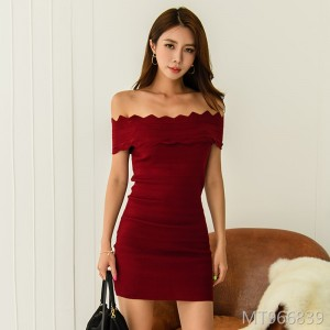 Back word collar slim knit dress handbag hip skirt